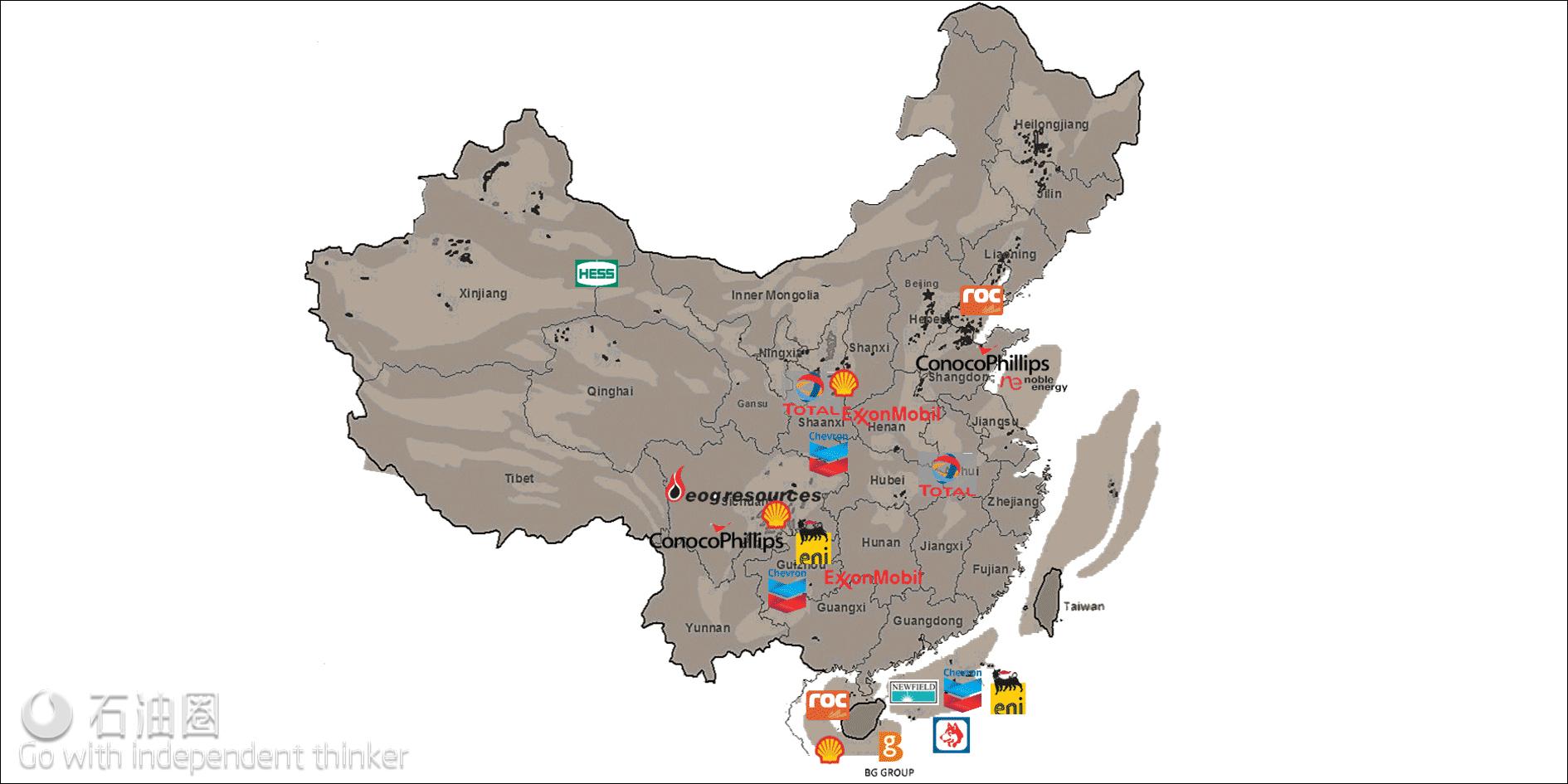 国际石油公司在中国油气业务分布情况